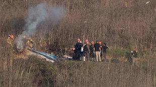 Imagen de los restos del helicóptero.