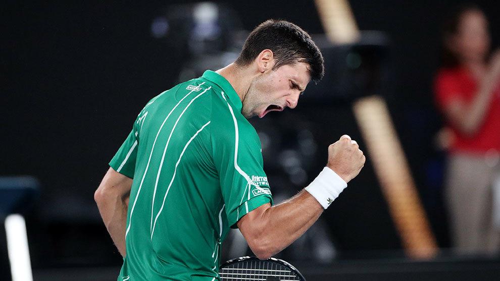Djokovic festeja su victoria ante Federer