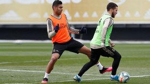 Eden Hazard, durante el entrenamiento en Valdebebas.