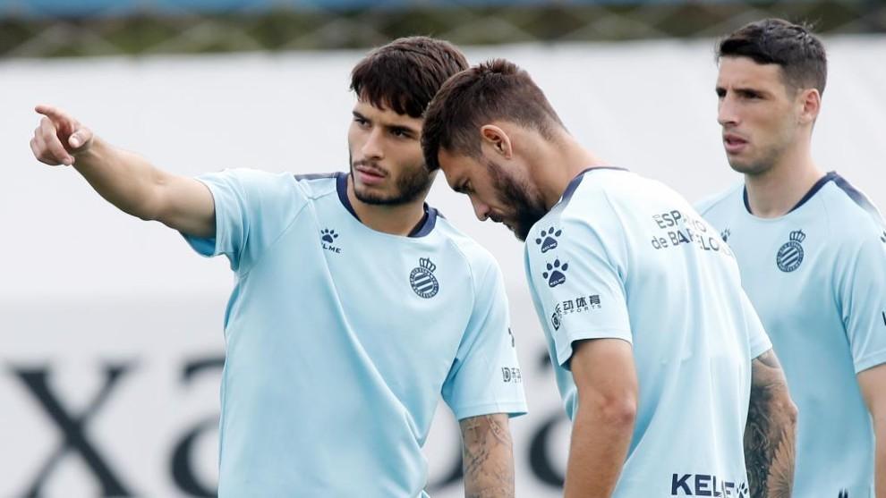 Lluís, en una sesión con el Espanyol