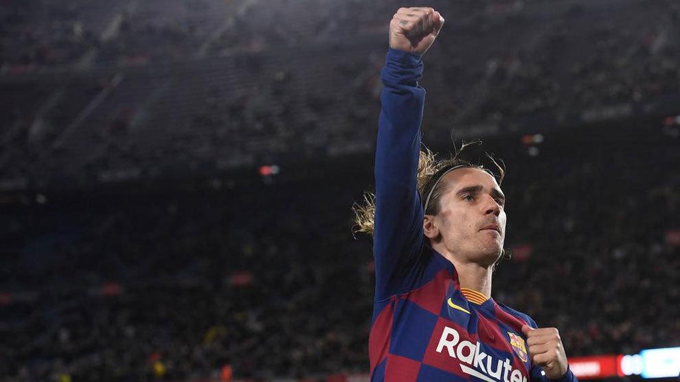 Antoine Griezmann celebra su gol al Leganés en Copa.