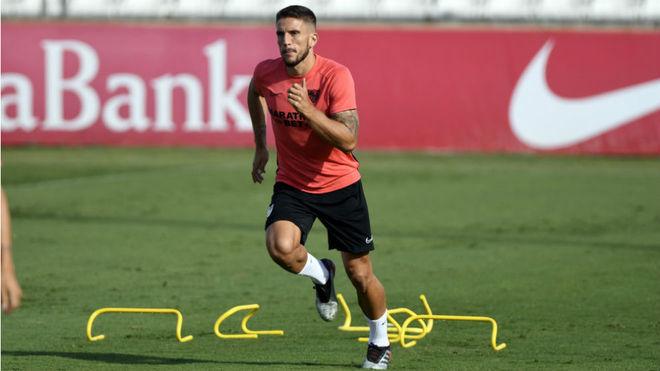 Carriço, en un entrenamiento con el Sevilla.
