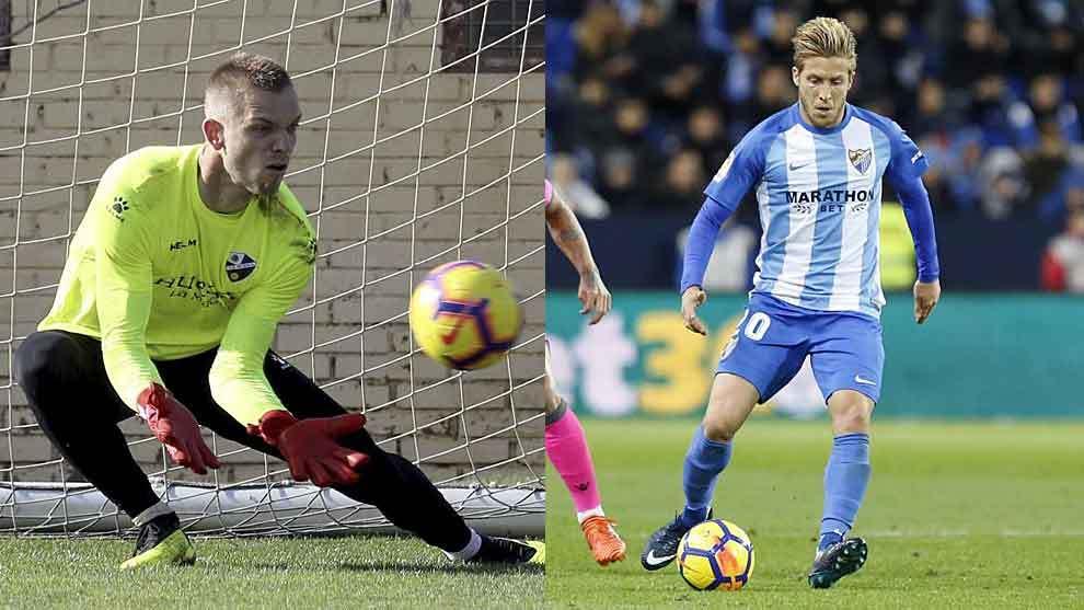 Jovanovic, en un entrenamiento del Huesca, y Keko Gontán, en un...