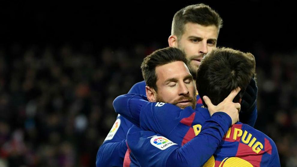 Pique, Messi and Riqui Puig