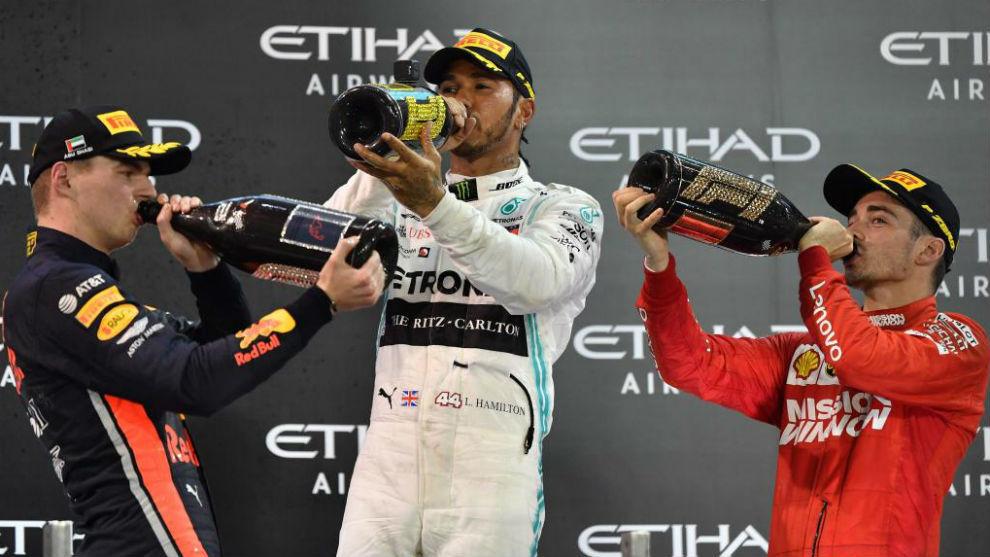 El ultimo podio de la F1, en Abu Dabi 2019.