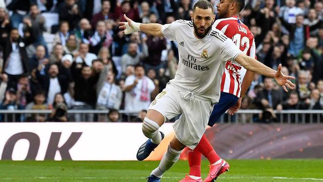 Benzema celebrando el gol ante el Atlético