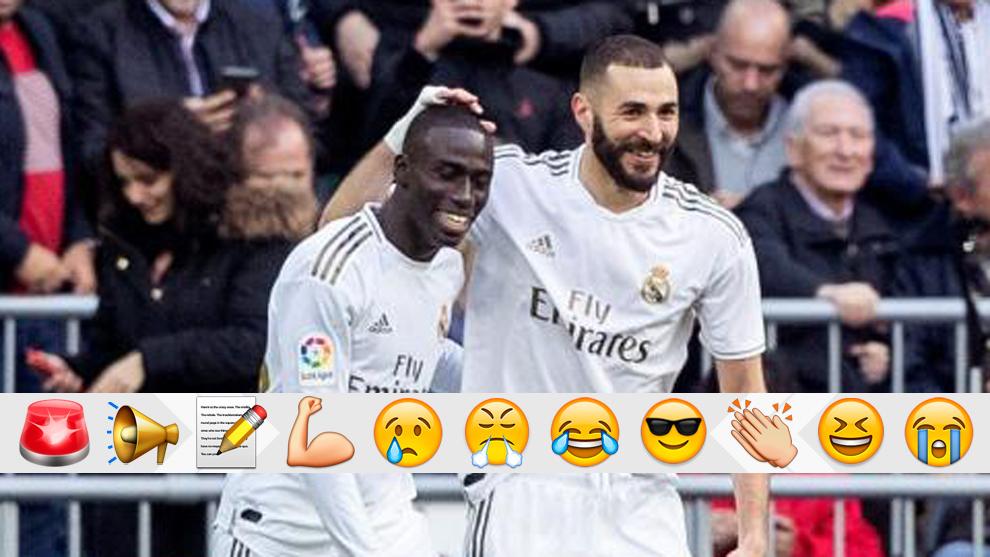 Benzema celebra con Mendy el 1-0