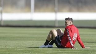 Mazán, tras concluir un entrenamiento con el Tenerife