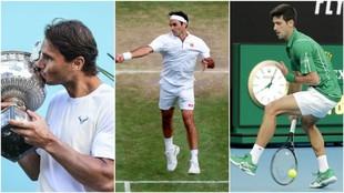 Nadal, Federer y Djokovic, en acción