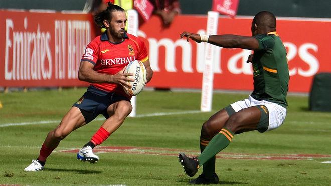 Pol Plà, con los Leon7s, en un partido de las World Rugby Sevens...