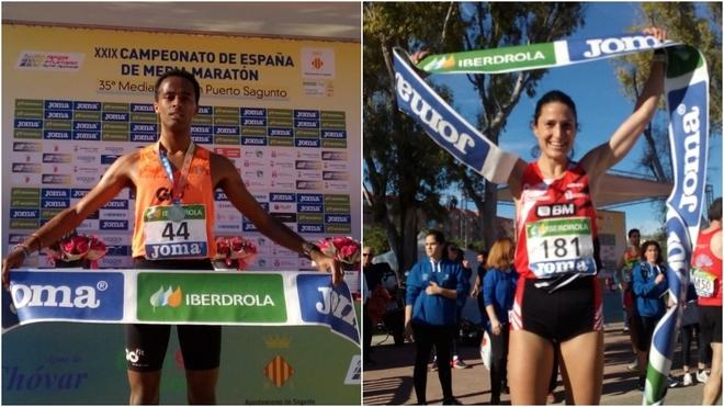 Tariku Novales y Elena Loyo, campeones de España de medio maratón.
