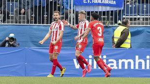 Stuani celebra el gol del triunfo del Girona en el Fernando Torres