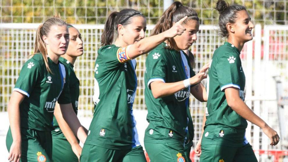 Paloma Fernandez celebra su único gol esta temporada ante el Rayo...