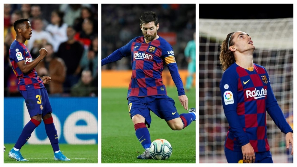 Ansu Fati, Leo Messi and Antoine Griezmann