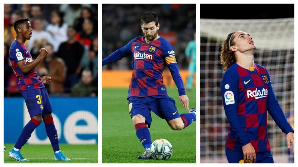 Ansu Fati, Leo Messi y Antoine Griezmann