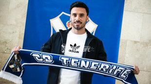 Javi Muñoz, a su llegada a Tenerife.