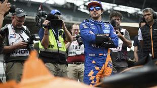 Alonso, durante su fallida asociación con McLaren en las 500 Millas...