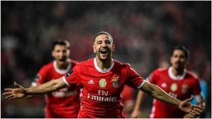Adel Taarabt celebra su gol contra Belenenses.