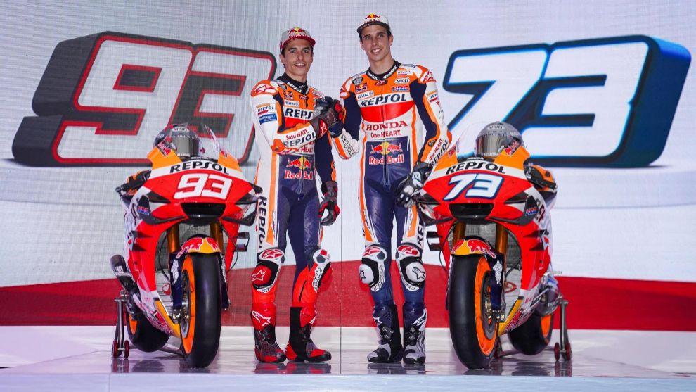 Marc y Álex Márquez, en la presentación del Repsol Honda.
