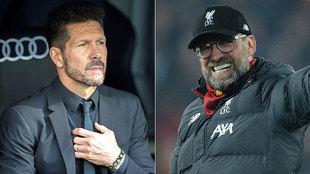 Simeone y Klopp, los técnicos de Atlético y Liverpool.