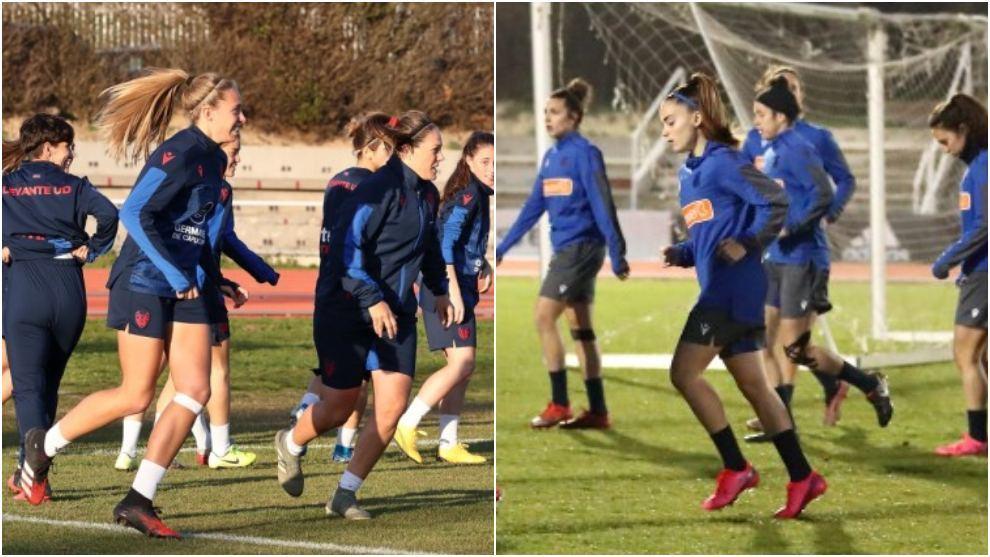 Jugadoras del Levante y Real Sociedad se entrenan en Salamanca.