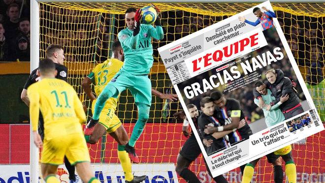 Keylor detiene un balón ante el Nantes... junto a la portada de...