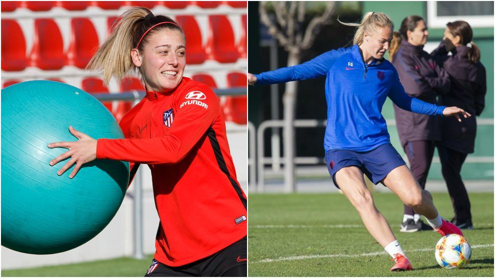 Carmen Menayo y Stefanie Van der Gragt en los entrenamientos del...