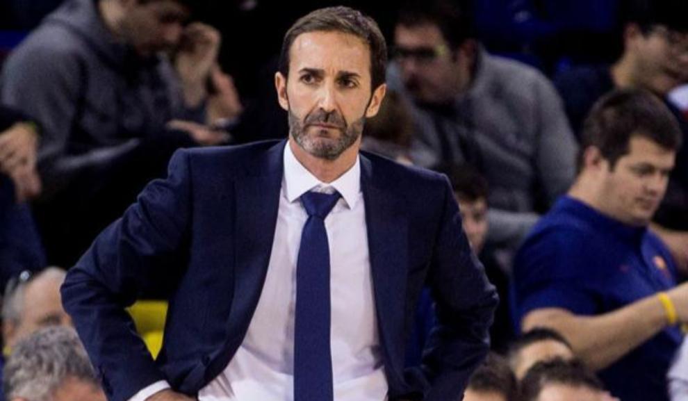 El entrenador madrileño durante un partido de la Liga Endesa