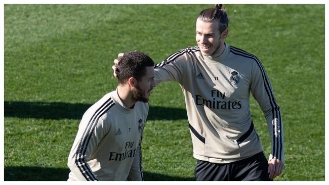 Hazard y Bale, en el entrenamiento de hoy.
