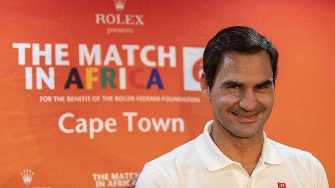 Roger Federer durante su rueda de prensa en el aeropuerto de Ciudad...