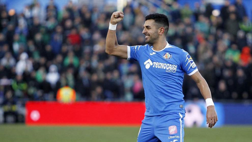 Ángel celebra un gol con el Getafe.