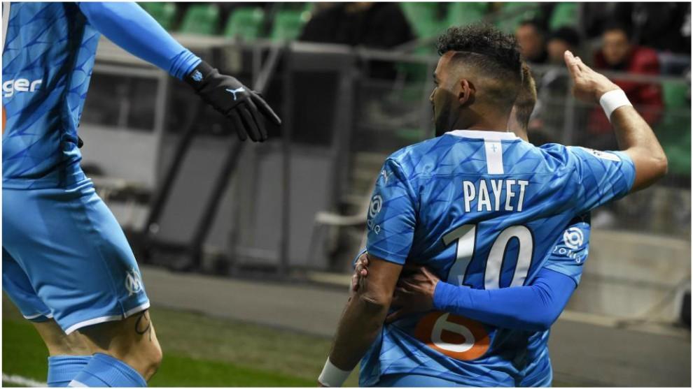 Payet celebra su gol contra el St.-Étienne.
