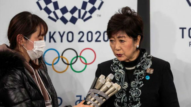 La gobernadora Yuriko Koike, en la ceremonia inaugural del Ariake...
