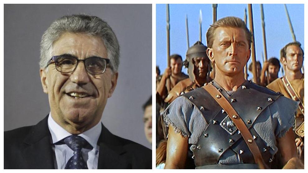 Manuel Orantesn y Kirk Douglas, en la película Espartaco