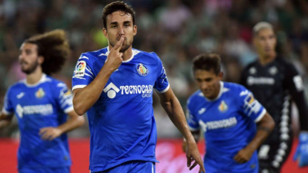 Jaime Mata celebra un gol con el Getafe