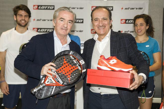 Andrea Tomat y Jorge Gómez, tras la presentación.