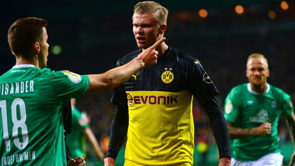 Haaland, durante un partido de la Copa de Alemania