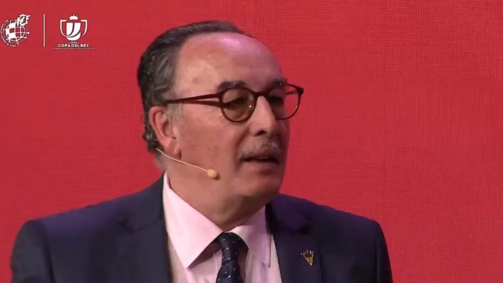 Alfredo de Miguel, presidente del Mirandés, en el sorteo de Copa de...