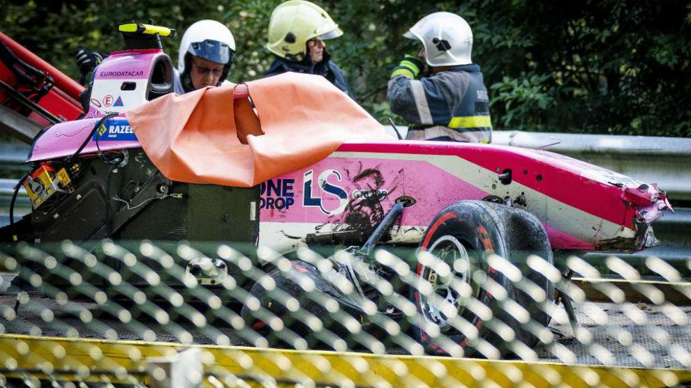 El coche accidentado del francés en el circuito de Spa