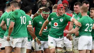 Los jugadores irlandeses celebran el ensayo de Josh van der Flier.