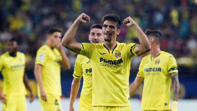 Gerard Moreno celebra un gol con el Villarreal.