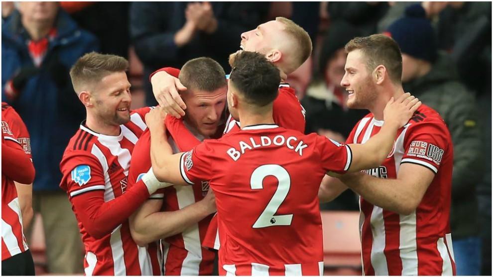 Los jugadores del Sheffield United celebran el gol de John Lundstram.