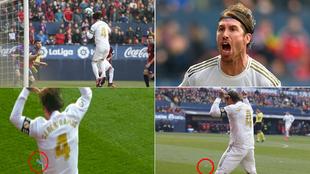 Ramos marca, lo celebra y casi un mechero casi le impacta