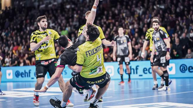 Un momento del partido entre el Nantes y el Ademar /