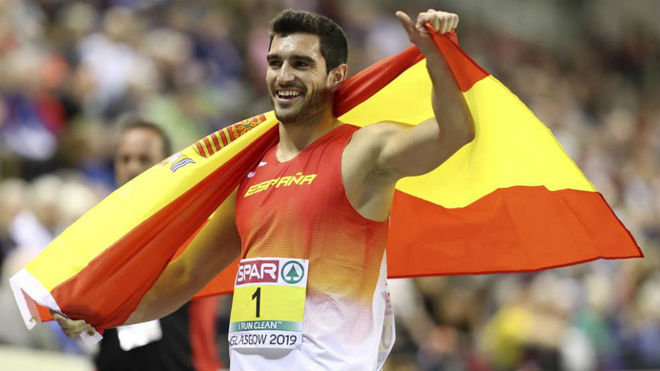 Ureña celebraba así el oro de heptatlón el Europeo 2019 de...