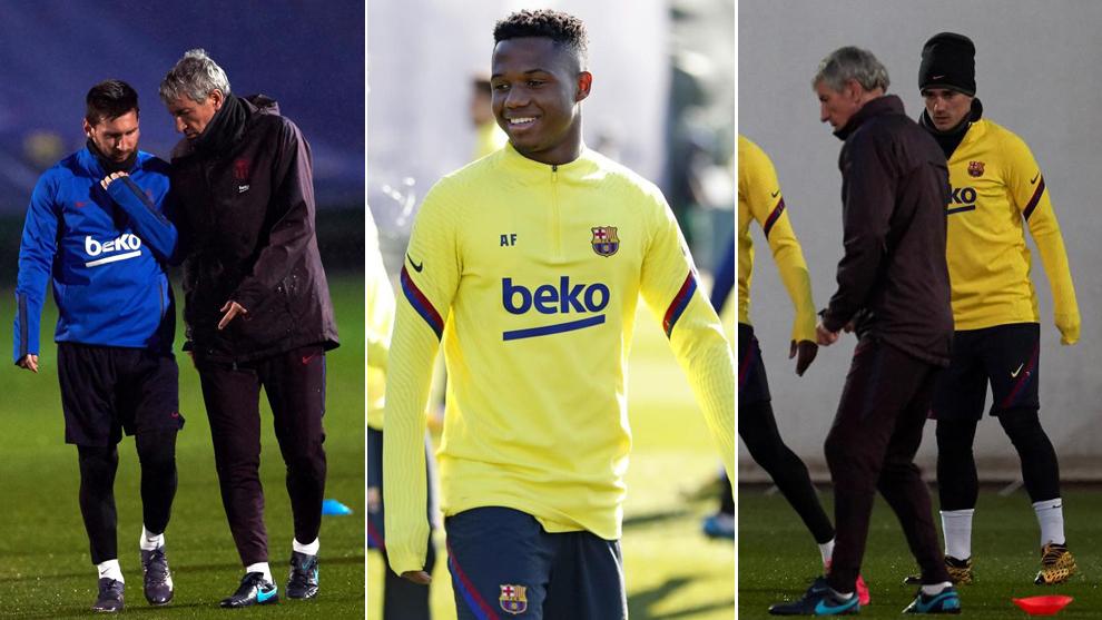 Ansu Fati, Messi, Griezmann y Setién, en entrenamientos del Barça.