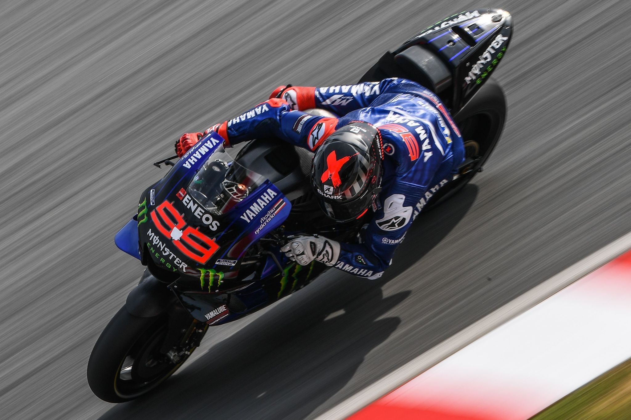Yamaha Test Teams Spanish rider lt;HIT gt;Jorge lt;/HIT gt; lt;HIT gt;Lorenzo lt;/HIT gt; takes a corner during the last day of the pre-season MotoGP winter test at the Sepang International Circuit in Sepang on February 9, 2020. (Photo by Mohd RASFAN / AFP)