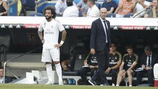 Marcelo y Zidane, durante un partido de la presente temporada.