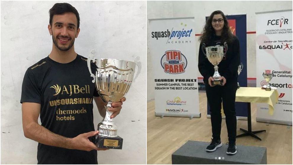 Iker Pajares y Cristina Gómez, con sus trofeos de campeones de...
