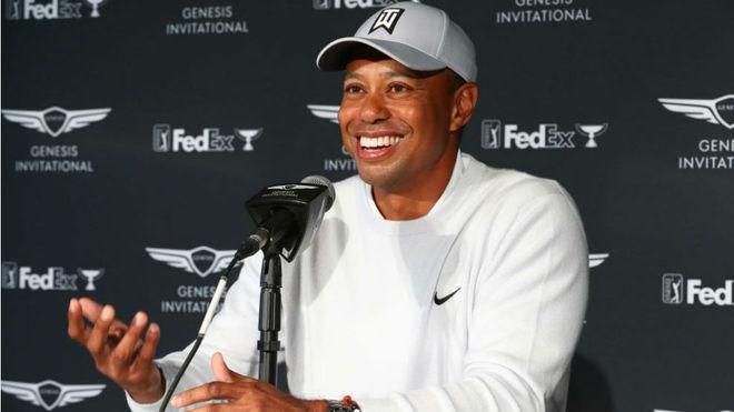 Tiger Woods en la rueda de prensa del Genesis Invitational.
